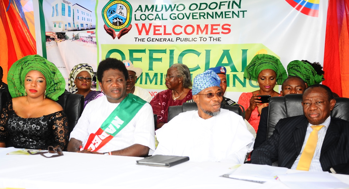 Governor state of osun, Ogbeni Rauf Aregbesola (2nd right); Chairman Amuwo Odofin Local Government, Comrade Ayodele Adewale and wife Zainb Adewale (2nd left); Special Adviser to Governor lagos State on Inter-Governmental Relation, Reverend  Tunji  Adebiyi, during the Official Commissioning of The Asuwaju Bola Ahmed Tinubu Legislative Building (freedom house).at Amuwo Odofin Local Government, Lagos State on Monday 27-10-2014.