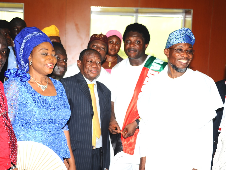 Governor state of osun, Ogbeni Rauf Aregbesola ( right) Chairman Amuwo Odofin Local Government, Comrade Ayodele Adewale  (2nd right) Special Adviser Governor lagos State on Inter-Governmental Relation,  Reverend Tunji  Adebiyi (2nd left) Deputy Majority Leader lagos House of Assembly Hon. Bola Akande (left), during the Official Commissioning of The Asuwaju Bola Ahmed Tinubu Legislative Building (freedom house), atAmuwo Odofin Local Government, Lagos State On Monday 27-10-2014.