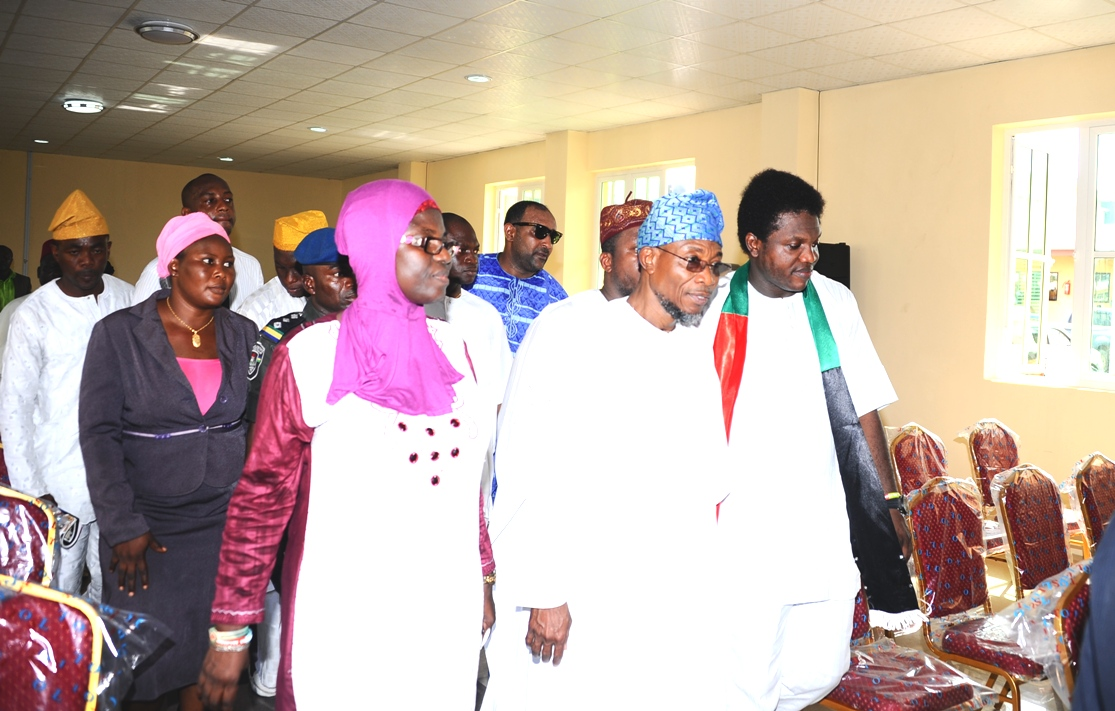 Governor state of osun, Ogbeni Rauf Aregbesola (2nd right) Chairman Amuwo Odofin Local Government, Comrad Ayodele Adewale and Others Inspection of the  building, during the Official Commissioning of The Asuwaju Bola Ahmed Tinubu Legislative Building (freedom house). On Monday 27-10-2014.
