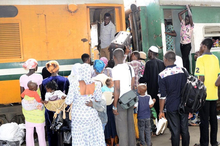 Passengers boarding the Omoluabi Free Train Ride offered by Governor Rauf Aregbesola for this Year's Eid-el-Kabir Celebration, for a Return Journey to Lagos at Osogbo Terminus, State of Osun on Tuesday 07-10-2014