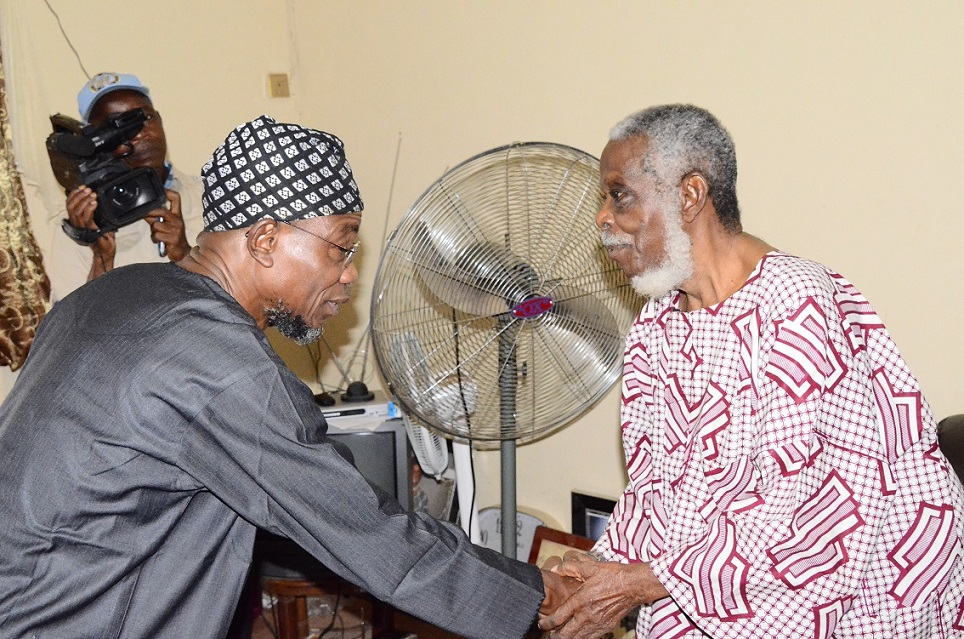 Governor State of Osun, Ogbeni Rauf Aregbesola (left) Commiserating with Afenifere Chieftain, Senator Ayo Fasanmi (right) on the demise of his wife, Mrs Felicia, during a condolence visit to Fasanmi's residence in Osogbo, State of Osun on Friday 10-10-2014
