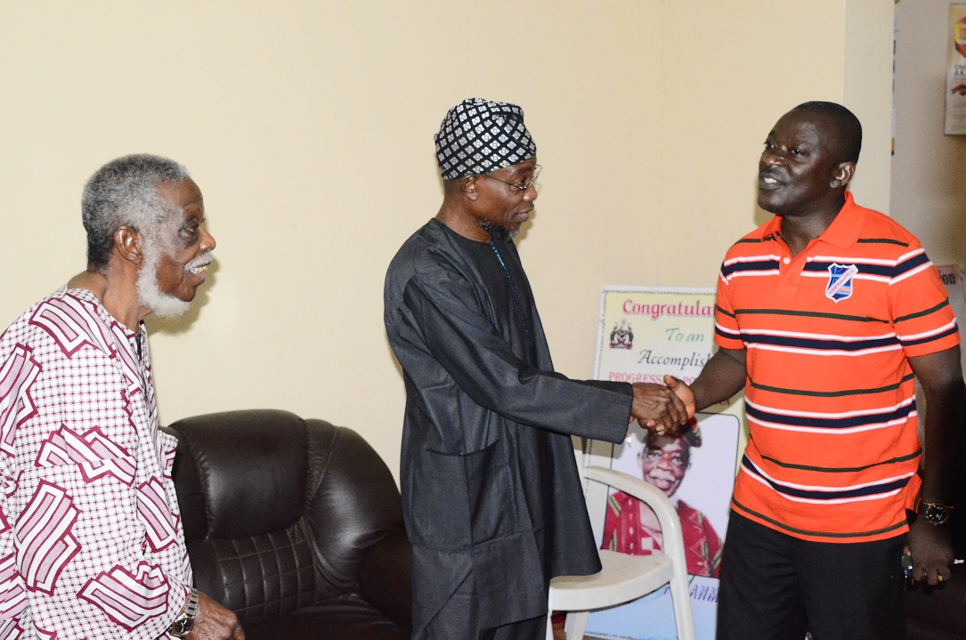 Governor State of Osun, Ogbeni Rauf Aregbesola (middle) Commiserating with Afenifere Chieftain, Senator Ayo Fasanmi (left) and his Son, Obafemi (right) on the demise of his mother, Mrs Felicia, during a condolence visit to Fasanmi's residence in Osogbo, State of Osun on Friday 10-10-2014