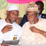 Governor State of Osun, Ogbeni Rauf Aregbesola (left) with Former Federal Commissioner for Works and Housing, Alhaji Lateef Okunnu, during the 6th Annual Alhaji Lateef 'Femi Okunnu Lecture Series organized by Nigeria Association of Muslim Law Students (NAMLAS), at Conference Centre, Obafemi Awolowo University (OAU), Ile-Ife, on Thursday 23-10-2014