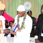 Governor State of Osun, Ogbeni Rauf Aregbesola (middle) receiving an Award of Excellence in Public Service from Olufon of Ifon-Osun, Oba Almarouf Magbagbeola (left) and President, Nigeria Association of Muslim Law Students (NAMLAS), Obafemi Awolowo University, Mallam AbdulYekeen Salahudeen (right), during the 6th Annual Alhaji Lateef 'Femi Okunnu Lecture Series organized by NAMLAS, at OAU Conference Centre, Ile-Ife, recently
