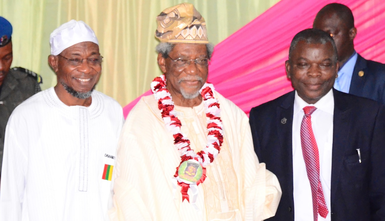 From left, Governor State of Osun, Ogbeni Rauf Aregbesola; Former Federal Commissioner for Works and Housing, Alhaji Lateef Okunnu and Deputy Vice Chancellor Administration, Obafemi Awolowo University (OAU), Professor Omolayo Ajayi, during the 6th Annual Alhaji Lateef 'Femi Okunnu Lecture Series organized by Nigeria Association of Muslim Law Students (NAMLAS), at Conference Centre, Obafemi Awolowo University (OAU), Ile-Ife, on Thursday 23-10-2014
