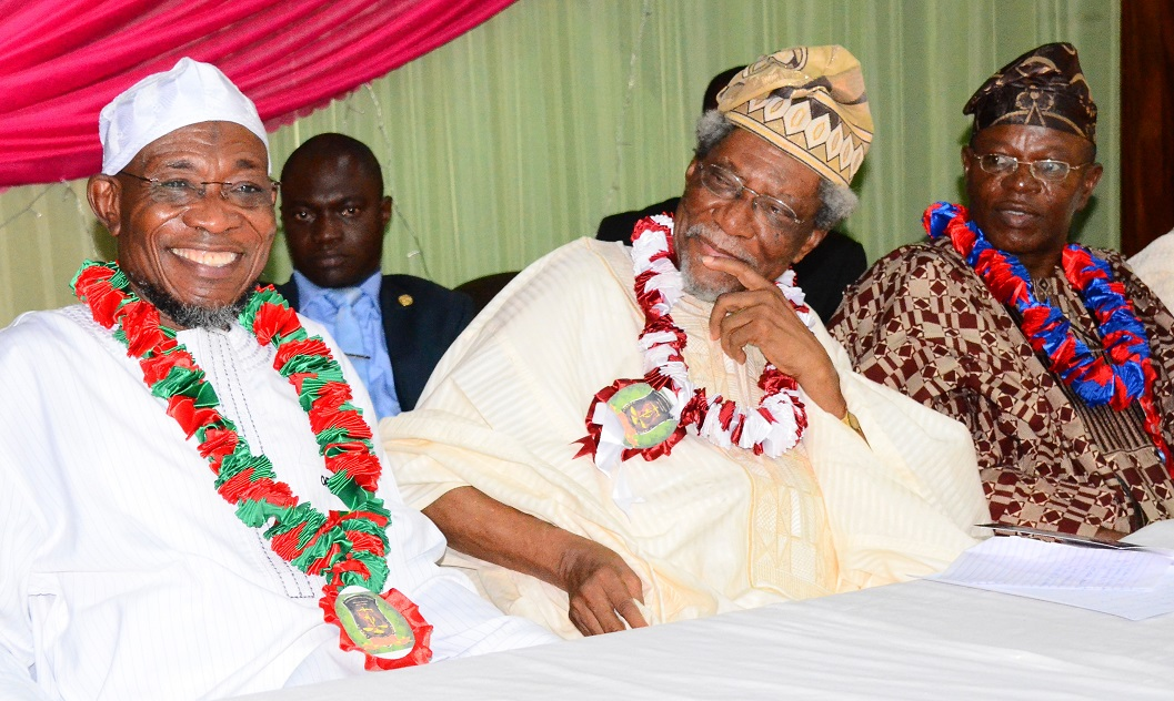From left, Governor State of Osun, Ogbeni Rauf Aregbesola; Former Federal Commissioner for Works and Housing, Alhaji Lateef Okunnu and Chairman of the Occasion, Professor Kehinde Yusuf, during the 6th Annual Alhaji Lateef 'Femi Okunnu Lecture Series organized by Nigeria Association of Muslim Law Students (NAMLAS), at Obafemi Awolowo University (OAU) Conference Centre, Ile-Ife, recently