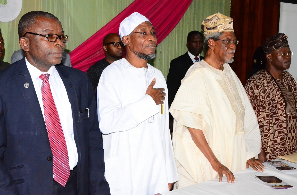From left, Deputy Vice Chancellor Administration, Obafemi Awolowo University (OAU), Professor Omolayo Ajayi; Governor State of Osun, Ogbeni Rauf Aregbesola; Former Federal Commissioner for Works and Housing, Alhaji Lateef Okunnu and Chairman of the Occasion, Professor Kehinde Yusuf, during the 6th Annual Alhaji Lateef 'Femi Okunnu Lecture Series organized by Nigeria Association of Muslim Law Students (NAMLAS), at Conference Centre, Obafemi Awolowo University (OAU), Ile-Ife, on Thursday 23-10-2014
