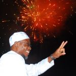 Governor State of Osun, Ogbeni Rauf Aregbesola watching the Pyrotechnics and Fireworks Display to Herald the New Hijirah 1436AH at Nelson Mandela Freedom Park, Osogbo, State of Osun on Friday 24-10-2014