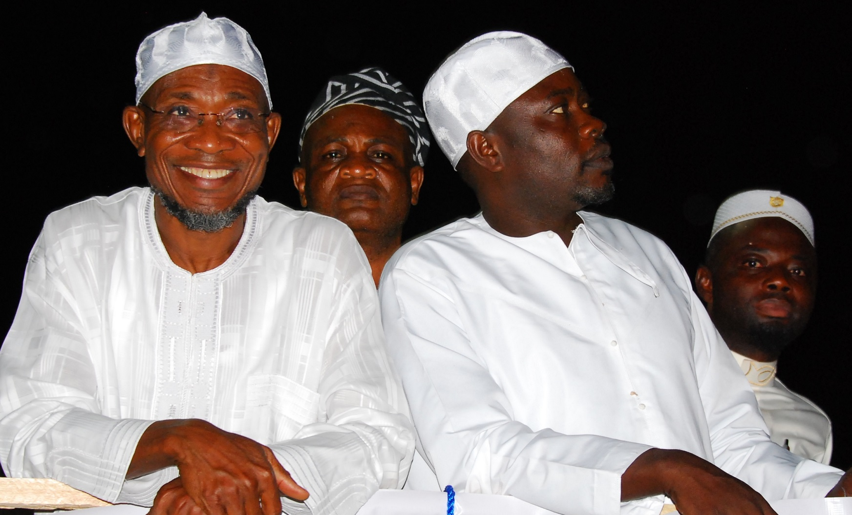 From left, Governor State of Osun, Ogbeni Rauf Aregbesola; Commissioner for Home Affairs, Culture and Tourism, Alhaji Sikiru Ayedun; Commissioner for Local Government and Chieftaincy Affairs, Barrister Kolapo Alimi and other, during the Pyrotechnics and Fireworks Display to Herald the New Hijirah 1436AH at Nelson Mandela Freedom Park, Osogbo, State of Osun on Friday 24-10-2014