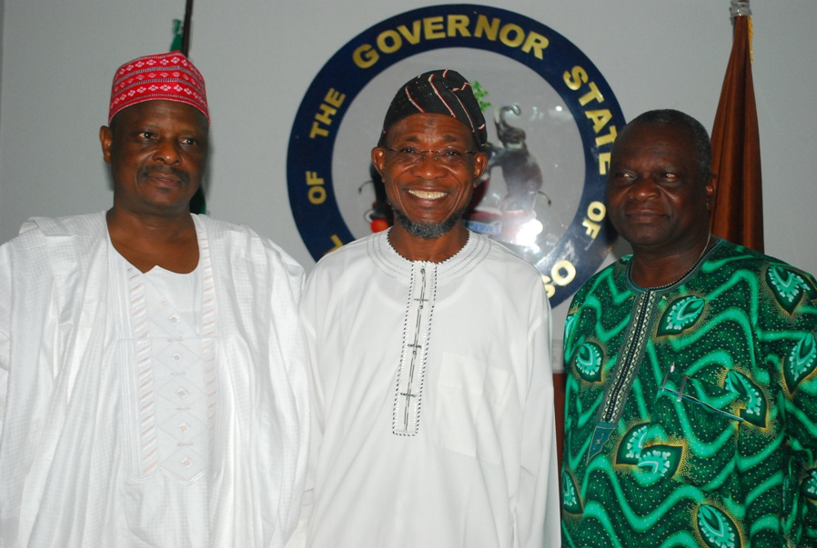 Governor State of Osun, Ogbeni Rauf Aregbesola (2rd right); his Kano State counterpart, Rabiu kwankwaso (left) and formal Osun Governor, Prince Olagunsoye Oyinlola, during Kwankwaso's visit to Governor Aregbesola, at the Government  House Osogbo on Sunday 12-10-2014.