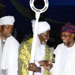 From right-* Governor State of Osun, Ogbeni Rauf Aregbesola; newly turbaned Chief Imam of Osogboland, State of Osun, Sheikh Musa Animasaun and Asiwaju Musulumi of Yorubaland, Alhaji Khamis Olatunde Badmus during an Installation ceremony, at Osogbo Central Mosque, Osogbo on Sunday 19/10/2014.