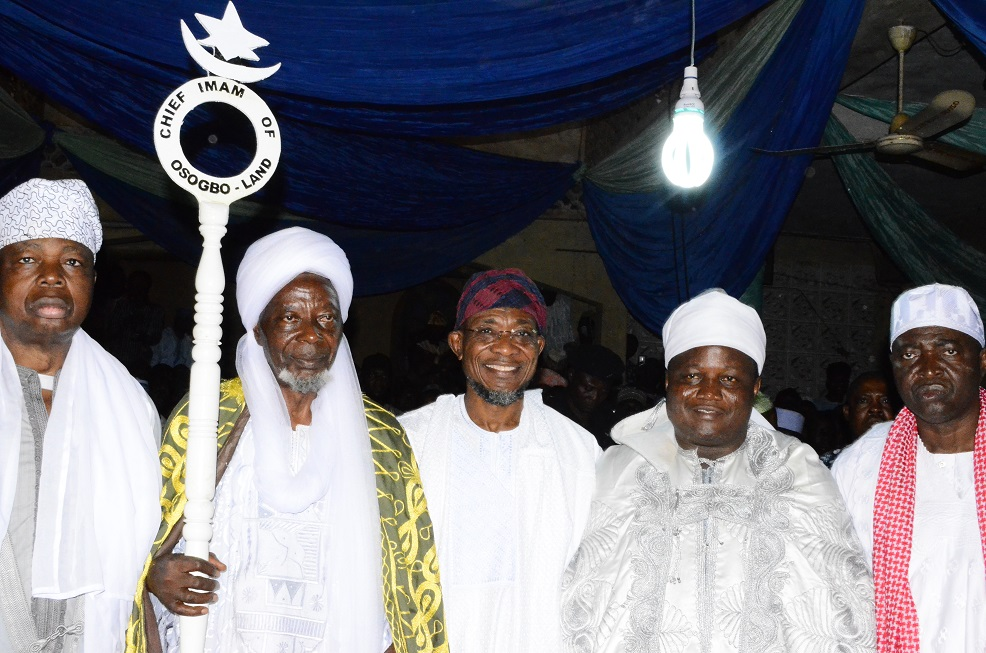 Governor State of Osun, Ogbeni Rauf Aregbesola (middle); newly turbaned Chief Imam of Osogboland, State of Osun, Sheikh Musa Animasaun (2nd left), Ataoja of Osogbo, Oba Jimoh Olanipekun (2nd right), Asiwaju Musulumi of Yorubaland, Alhaji Khamis Olatunde Badmus (left) and former Senator Osun Central Senatorial District, Sen. Bayo Salami during an Installation ceremony at Osogbo Central Mosque, Osogbo on Sunday 19/10/2014.