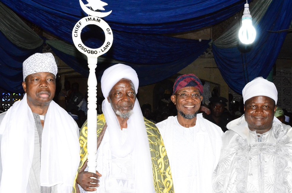 Governor State of Osun, Ogbeni Rauf Aregbesola (2nd right); newly turbaned Chief Imam of Osogboland, State of Osun, Sheikh Musa Animasaun (2nd left), Ataoja of Osogbo, Oba Jimoh Olanipekun (right) and Asiwaju Musulumi of Yorubaland, Alhaji Khamis Olatunde Badmus (left) during an Installation ceremony, at Osogbo Central Mosque, Osogbo on Sunday 19/10/201