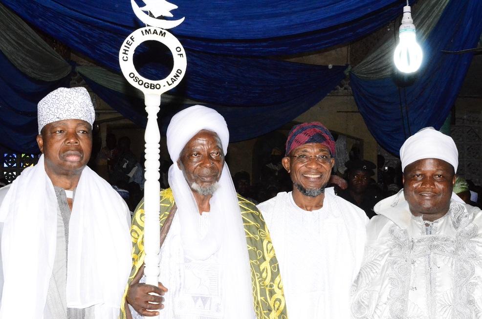 Governor State of Osun, Ogbeni Rauf Aregbesola (2nd right); newly turbaned Chief Imam of Osogboland, State of Osun, Sheikh Musa Animasaun (2nd left), Ataoja of Osogbo, Oba Jimoh Olanipekun (right) and Asiwaju Musulumi of Yorubaland, Alhaji Khamis Olatunde Badmus (left) during an Installation ceremony, at Osogbo Central Mosque, Osogbo on Sunday 19/10/201