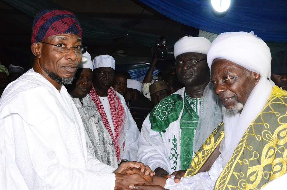 From right-* Governor State of Osun, Ogbeni Rauf Aregbesola, Ataoja of Osogbo, Oba Jimoh Olanipekun, Former Senator Osun Central Senatorial District, Sen. Bayo Salami, Naibu-Imam of Ife, Alhaji Abdul-Semihi Abdul-Salam and newly turbaned Chief Imam of Osogboland, State of Osun, during a turbanning/installation ceremony, at Osogbo Central Mosque, Osogbo on Sunday 19/10/2014.