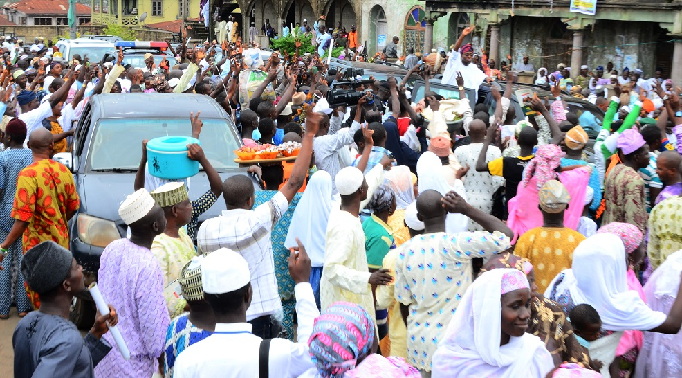Governor State of Osun, Ogbeni Rauf Aregbesola acknowledging cheers from Muslims Faithful during the turbanning/installation ceremony of new Chief Imam of Osogboland, State of Osun at Osogbo Central Mosque on Sunday 19/10/2014