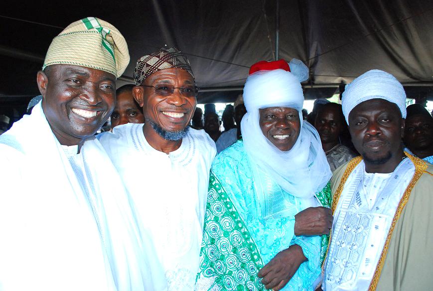 Governor State of Osun, Ogbeni Rauf Aregbesola (2nd left); Baba Adinni of Osogboland, Senator Bayo Salami (left); Newly Naibul-Imam of Osogboland, Alhaji Haroon Samanigongo (2nd right) and Mufasir of Osogboland, Alhaji Maruf Ishola (right),  during their Turbanning Ceremony at Central Eid, Osogbo, State of Osun on Tuesday 21-10-2014