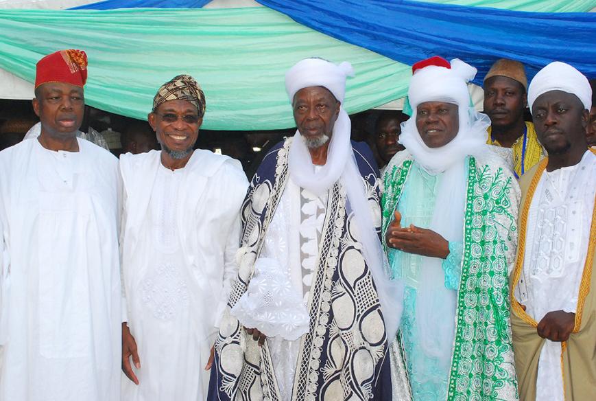 Governor State of Osun, Ogbeni Rauf Aregbesola (2nd left); Asiwaju Musulumi of Yorubaland, Chief Khamis Badmus (left); Chief Imam of Osogboland, Sheikh Musa Animasaun (centre); Newly Naibul-Imam of Osogboland, Alhaji Haroon Samanigongo (2nd right) and Mufasir of Osogboland, Alhaji Maruf Ishola (right),  during their Turbanning Ceremony at Central Eid, Osogbo, State of Osun on Tuesday 21-10-2014