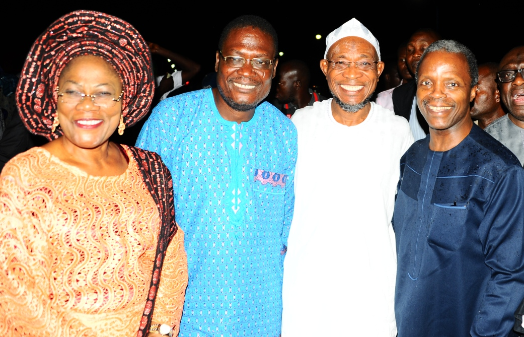 Governor State of Osun Ogbeni Rauf Aregbesola(2nd right), Deputy Governor State of osun, Mrs Titi Laoye-Tomori (left), organizer of the programme, Professor Yemi Oshinbajo (right), during  An Evening of Praise and Thanksgiving at Mandela Freedom Park Osogbo on Saturday 8-10-2014.