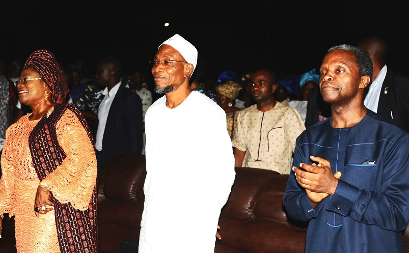 Governor State of Osun Ogbeni Rauf Aregbesola(2nd left), Deputy Governor State of osun, Mrs Titi Laoye-Tomori (left), Organizer of the programme, Professor Yemi Oshinbajo ( right), during  An Evening of Praise and Thanksgiving at Mandela Freedom Park Osogbo on Saturday 8-10-2014.