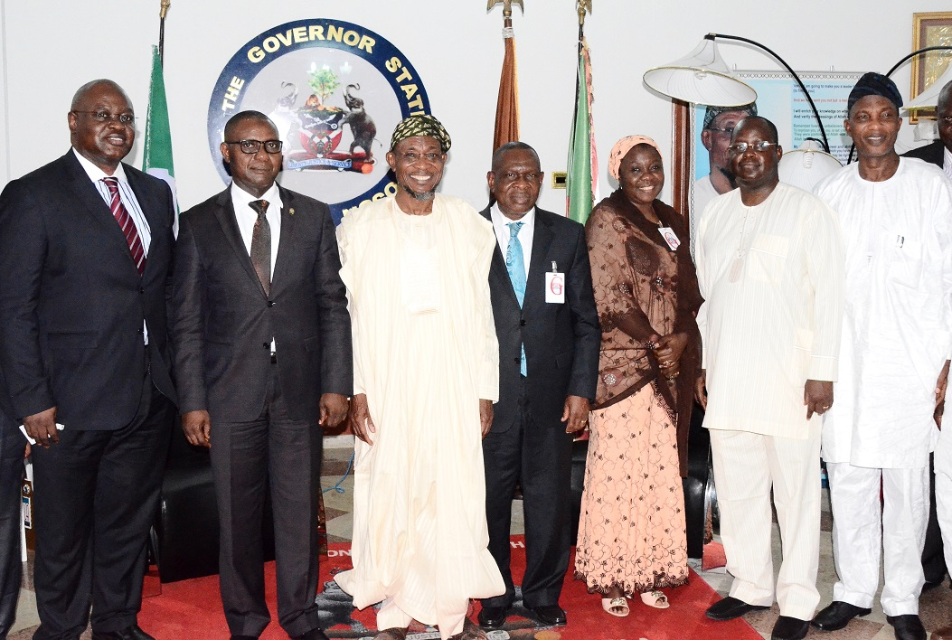 Governor State of Osun, Ogbeni Rauf Aregbesola (3rd left); Special Adviser to Governor, Central Bank of Nigeria (CBN) on Development Finance, Mr Paul Nduka (centre); Commissioner for Finance, Dr Wale Bolorunduro (2nd right); Assistant Director, CBN Abuja, Amina Umar (2nd right); Secretary to the State Government of Osun, Alhaji Moshood Adeoti (right); Acting Director, Development Finance Department, CBN, Dr. Mudashir Olaitan (2nd left) and Assistant Director, Head Development Finance Office, CBN, Mr Adebisi Adedeji (left), during a Courtesy Visit to the Governor in Osogbo, State of Osun