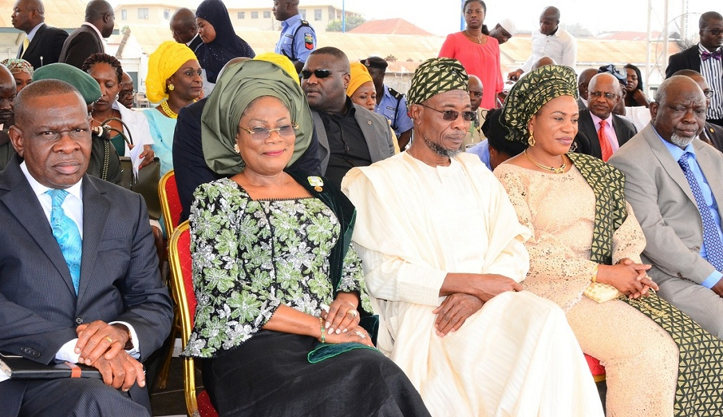 From left, Special Adviser to Governor, Central Bank Nigeria (CBN) on Development Finance, Mr Paul Nduka; Deputy Governor State of Osun, Mrs Titi Laoye-Tomori; Governor Rauf Aregbesola; his Wife, Sherifat; Deputy Speaker, Osun House of Assembly, Honourable Akintunde Adegboye and others, during the Disbursement of N2 Billion Accessed by the State to Loanees under the CBN N220 Billion Micro, Small and Medium Enterprises Development Fund at Nelson Mandela Freedom Park, Osogbo on Monday 24-11-2014