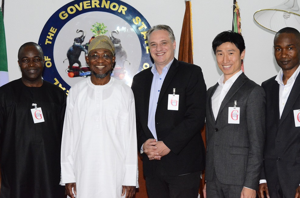 *From left-* Chairman, Citiengineers Limited, Mr. Bello Olatunji; Governor State of Osun, Ogbeni Rauf Aregbesola; German Chief Executive Officer, Entrade Energiesystem, Mr. Julien Uhlig; Chinese Chief Financial Officer, Entrade Energiesystem, Mr. James Kong and Director, Entrade Africa Growth PLC, Mr. Ayo Bamidele during a courtesy visit to the governor at government house on 30/10/2014.