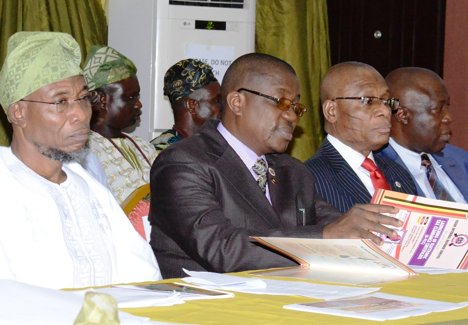 From right, Governor State of Osun, Ogbeni Rauf Aregbesola; Acting Chairman, Osun  Internal Revenue Service, Mr Dayo Oyebamiji and Director Medium, Tax Department of Federal Inland Revenue Service, Mr Peter Olayemi, during the launching of Electronic Tax Clearance Certificate (E-TCT), at Leisure Spring Hotel, Osogbo, State of Osun on Thursday 06-11-2014