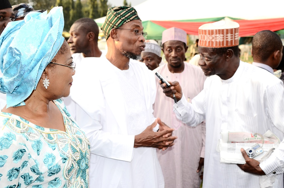 From left, Deputy Governor State of Osun, Mrs Titi Laoye-Tomori; Governor Rauf Aregbesola; Senior Special Assistant to the Governor on Arewa Matters, Imam Bashir Mohammed and a British Broadcasting Corporation reporter, Mallam Kabiru Yayo, during a party organised by Osun Disables and Beggars Association to celebrate Aregbesola's re-election in Osogbo, State of Osun on Friday 07-11-2014