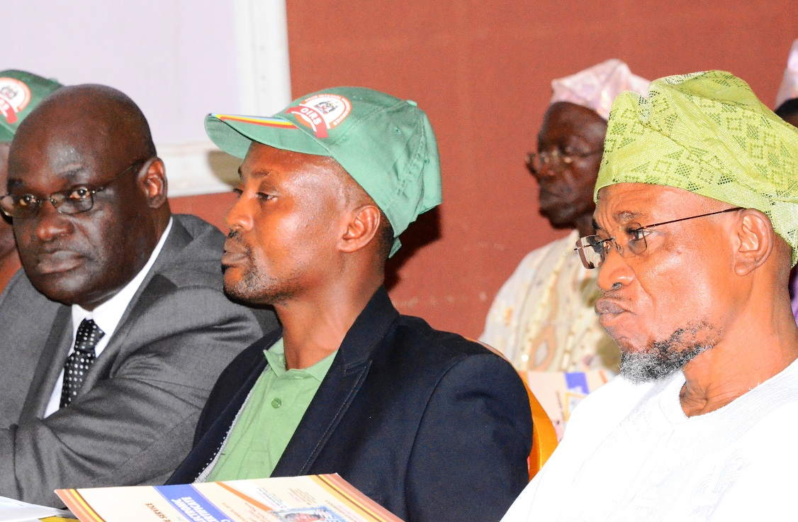 From right, President General, Market Women Association, State of Osun, Alhaja Awawu Asindemade; Governor State of Osun, Ogbeni Rauf Aregbesola; Commissioner for Finance, Dr. Wale Bolorunduro and others, during the launching of Electronic Tax Clearance Certificate (E-TCT), at Leisure Spring Hotel, Osogbo, State of Osun on Thursday 06-11-2014