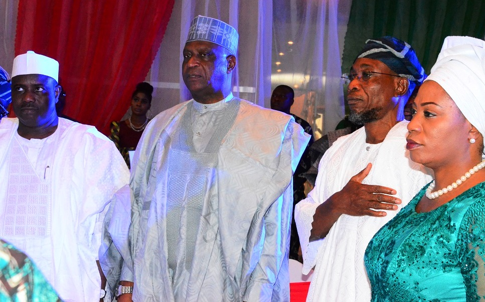Governor State of Osun, Ogbeni Rauf Aregbesola; his wife, Sherifat (right); Speaker, Federal House of Representative , Hon. Aminu Tanbuwwal (left) and All Progressive Congress (APC) Chieftain, Alhaji Kawu Baraje (2nd left), during the Victory Colloquium for Aregbesola at Eko Hotel Lagos State on Sunday 2/11/2014.