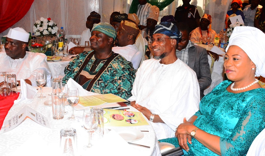 From right –* First Lady State of Osun, Alhaja Sherifat Aregbesola, Governor Rauf Aregbesola, Former Governor State of Osun, Prince Olagunsoye Oyinlola and Speaker, Federal House of Representative, Hon. Aminu Tanbuwwal, during the Victory Colloquium for Aregbesola, at Eko Hotel Lagos State on Sunday 2/11/2014.