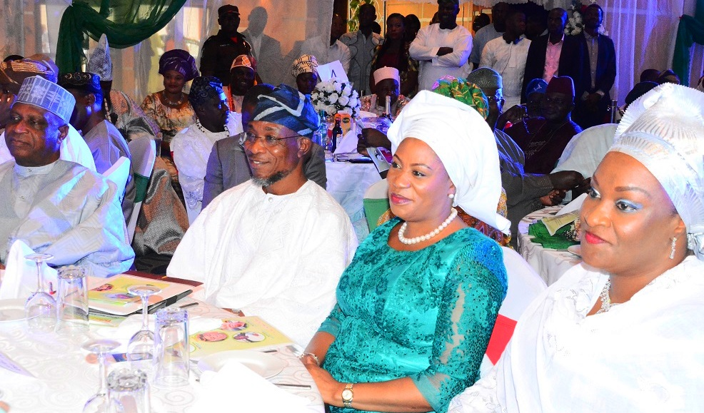 From right - *All Progressive Congress (APC) Chieftain, Alhaji Kawu Baraje, Governor State of Osun, Ogbeni Rauf Aregbesola; his wife, Sherifat and Representative of Senator Oluremi Tinubu, Alhaja Rashidat Are, during the Victory Colloquium for Aregbesola, at Eko Hotel Lagos State on Sunday 2/11/2014.