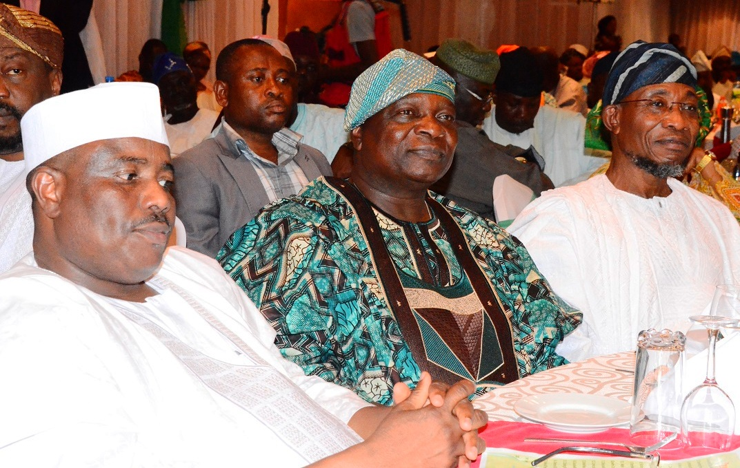 From right -* Governor State of Osun, Ogbeni Rauf Aregbesola, Former Governor State of Osun, Prince Olagunsoye Oyinlola and Speaker, Federal House of Representative, Hon. Aminu Tanbuwwal, during the Victory Colloquium for Aregbesola, at Eko Hotel Lagos State on Sunday 2/11/2014.