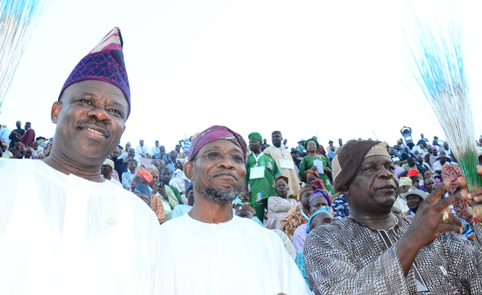 From left –*  Ogun State Governor, Senator Ibikunle Amosun, Governor State of Osun, Ogbeni Rauf Aregbesola and Former Governor State of Osun, Prince Olagunsoye Oyinlola during the 3rd National Convention/Presidential Primary Election, All Progressive Congress (APC) at Onikan Stadium Lagos State