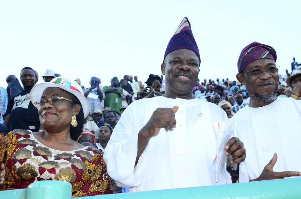 From right – * Governor State of Osun, Ogbeni Rauf Aregbesola, Ogun State Governor, Senator Ibikunle Amosun, and Deputy Governor State of Osun, Mrs. Titi Laoye -Tomori during the 3rd National Convention/Presidential Primary Election, All Progressive Congress (APC) at Onikan Stadium Lagos State