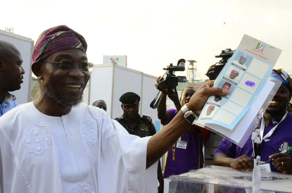 Governor State of Osun, Ogbeni Rauf Aregbesola during the 3rd National Convention/Presidential Primary Election, All Progressive Congress (APC) at Onikan Stadium Lagos State