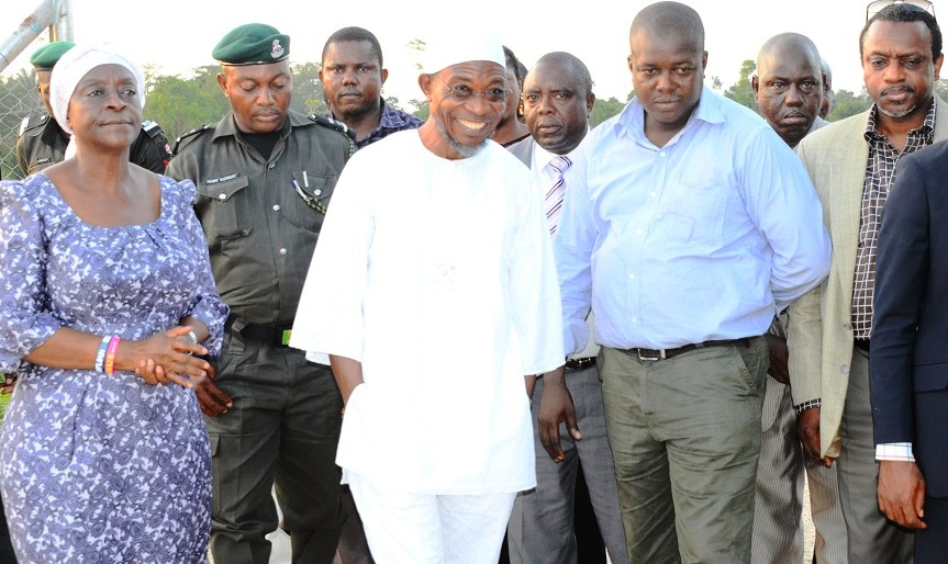 Governor State of Osun, Ogbeni Rauf Aregbesola (middle); Project Manager, Engineer Oladini Awoyemi (right) Former Special Adviser to the Governor on Water Resources, Mrs. Tawakalitu Williams (left) and Mr. Sola Adeeyo at the recent inspection Tour to the Kajola Water Dam in the State of Osun