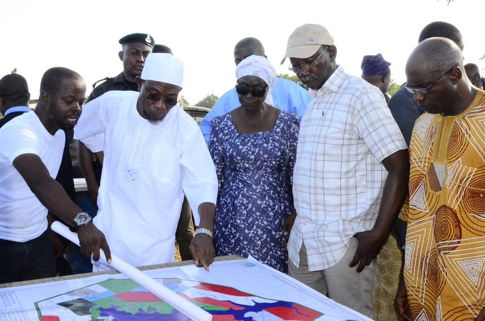 *From left-* Project Manager, Mr. Ladi Whilkey; Governor State of Osun, Ogbeni Rauf Aregbesola; Former Special Adviser to the Governor on Water Resources, Mrs. Tawakalitu Williams; Former Deputy Chief of Staff to the Governor State of Osun, Mr. Gbenga Adebusuyi and Chairman, Osun Tourism Board, Engnr. Abimbola Daniran  at a Project Inspection Tour to the Owala Water Dam, Okinni, State of Osun on Tuesday 02/12/2014.