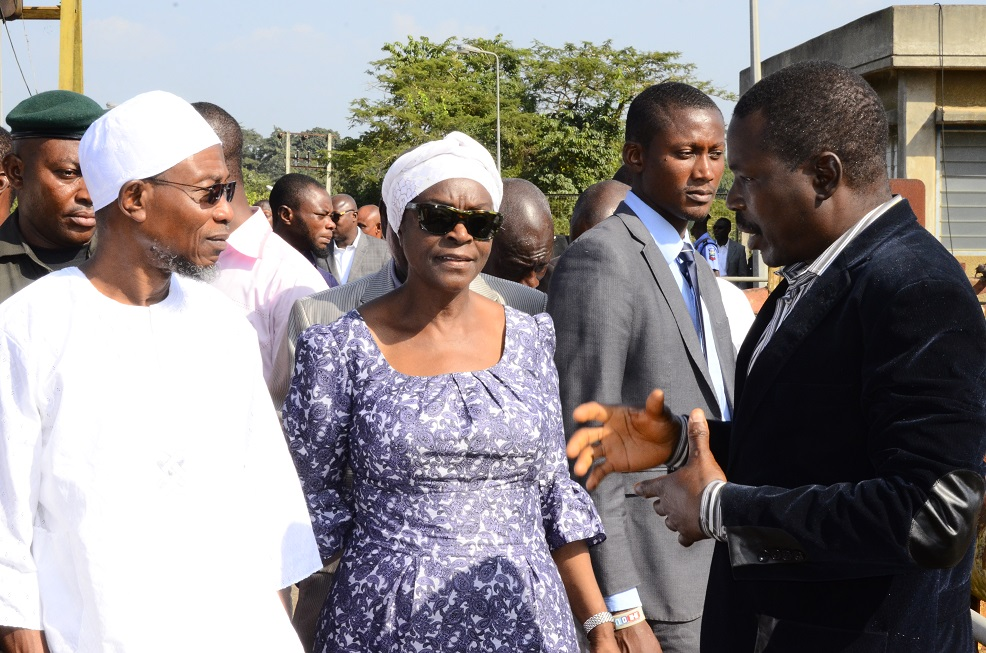 *From left-* Governor State of Osun, Ogbeni Rauf Aregbesola; Former Special Adviser to the Governor on Water Resources, Mrs. Tawakalitu Williams and Deputy General Manager, Osun State Water Corporation, Engnr.  Ogunsina Lawrence at the Inspection Tour to the Owala Water Dam Okinni, State of Osun on Tuesday 02/12/2014.