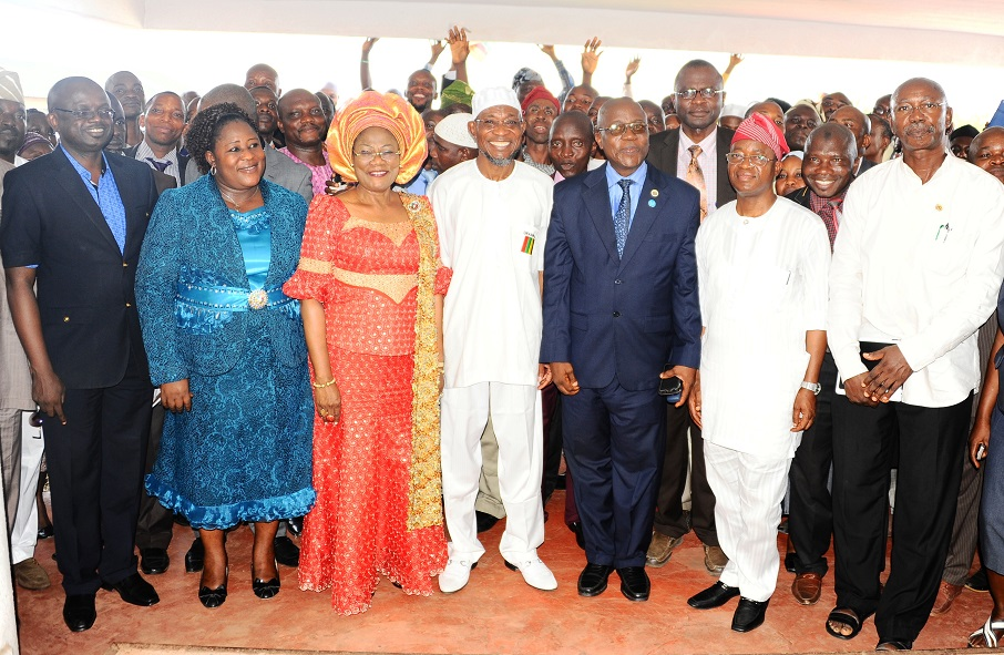 Governor State of Osun, Ogbeni Rauf Aregbesola (centre); his Deputy, Mrs Titi Laoye-Tomori (3rd left); Head of Service, Mr Olayinka Owoeye (3rd right); Former Chief of Staff to the Governor, Alhaji Gboyega Oyetola (2nd right); Permanent Secretary, Ministry of Innovation, Science and Technology, Mrs Olufunke Kolawole (2nd left);  Permanent Secretary, General Service, Mr. Kayode Adegoke (left) and others, during the Governor's resumption back to office after his Second Term Inauguration in Osogbo, State of Osun on Monday 01-12-2014