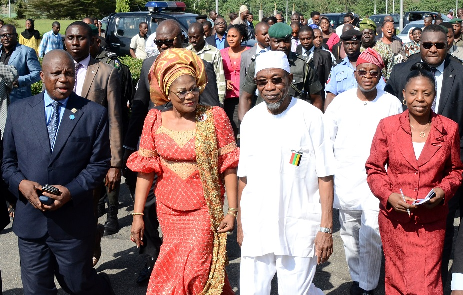 Governor State of Osun, Ogbeni Rauf Aregbesola (3rd left); his Deputy, Mrs Titi Laoye-Tomori (2nd left); Head of Service, Mr Olayinka Owoeye (left); Former Chief of Staff to the Governor, Alhaji Gboyega Oyetola (2nd right) and others, during the Governor's resumption back to office after his Second Term Inauguration in Osogbo, State of Osun on Monday