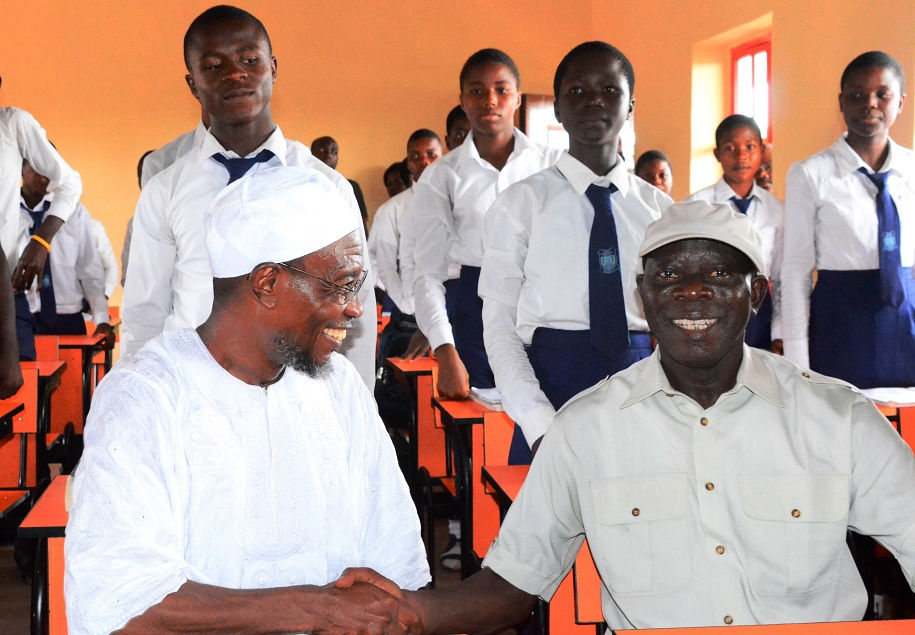 Governor State of Osun, Ogbeni Rauf Aregbesola and Edo State Governor,  Comrade Adams Oshiomhole  during a Commissioning of Reconstructed Asoro Grammar School, Benin City in Edo State on Friday 5/12/2014.