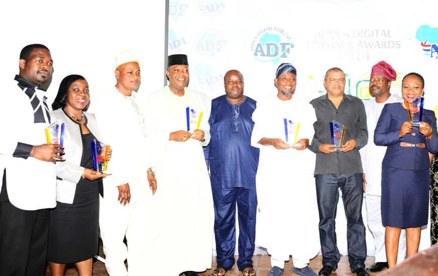 Governor State of Osun, Ogbeni Rauf Aregbesola (4th right); President Nigeria lnternet Group, Engr. Adebayo Banjo (3rd right); Event Coordinator, Mr Tayo Adewusi (5th left); Past President, Nigeria lnternet Group (NIG) and Association of Telecom Companies of Nigeria (ATCON), Engr. Emmanuel Ekuwem (4th left) and others, during the Africa Digital Forum and Presentation of Awards 2014 on ICT Infrastructural to Governor Aregbesola, at Sheraton Hotel & Towers, lkeja, Lagos on Sunday 14-12-2014.