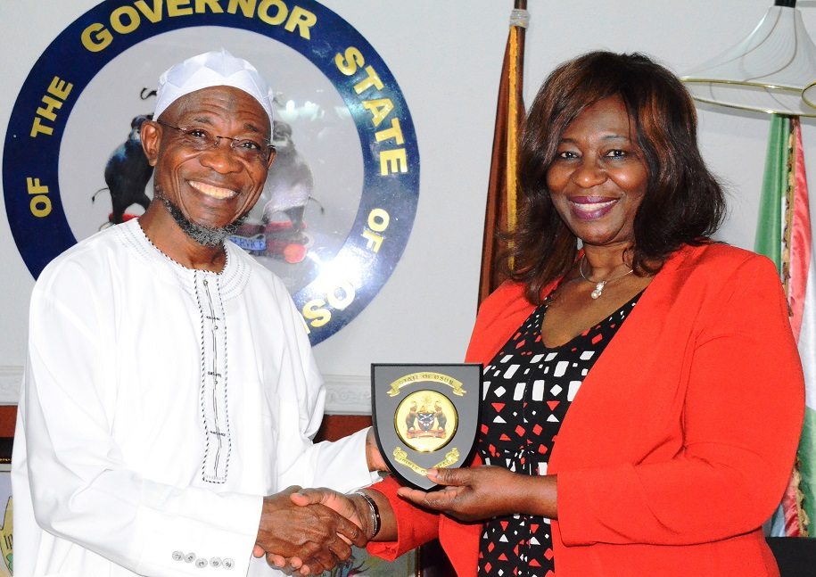 Governor State of Osun, Ogbeni Rauf Aregbesola (left) and Nigeria Ambassador to Ireland, Ambassador Bolere Elizabeth Ketebu, during a Trade Mission Visit to the Governor at Government House, Osogbo recently