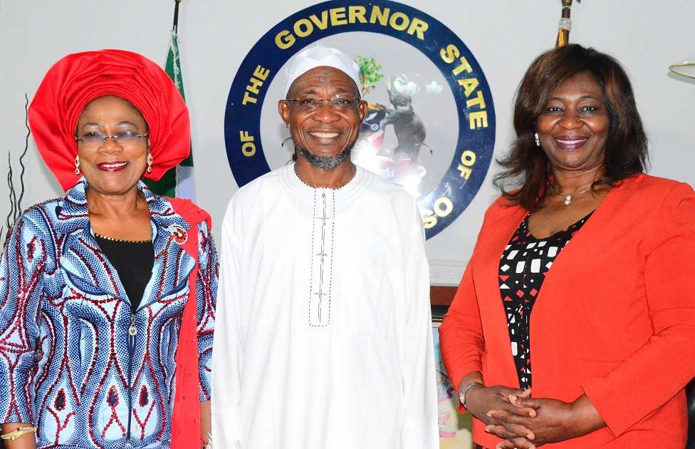 Governor State of Osun, Ogbeni Rauf Aregbesola (middle); his deputy, Mrs. Titi-Laoye Tomori (left) and Nigeria Ambassador to Ireland, Ambassador Bolere Elizabeth Ketebu (right), during a Trade Mission Visit to the Governor at Government House, Osogbo recently