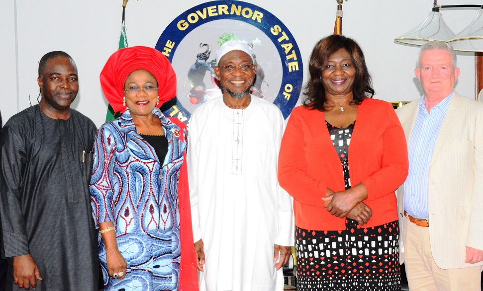 Governor State of Osun, Ogbeni Rauf Aregbesola (middle); his deputy, Mrs. Titi-Laoye Tomori (2nd left); Nigeria Ambassador to Ireland, Ambassador Bolere Elizabeth Ketebu (2nd right); Mr. Sean Lyons (right) and Chief Executive Officer (CEO) City Engineer Limited, Mr. Kola Bello (left), during a Trade Mission Visit to the Governor at Government House, Osogbo recently