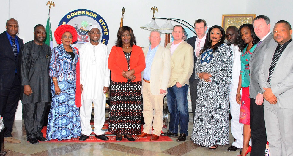 Governor State of Osun, Ogbeni Rauf Aregbesola (4th left); his Deputy, Mrs. Titi-Laoye Tomori (3rd left); Nigeria Ambassador to Ireland, Ambassador Bolere Elizabeth Ketebu (5th left); Mr. Sean Lyons (6th left) Chief Executive Officer (CEO) City Engineer Limited, Mr. Kola Bello (2nd left); Barrister Doran O'Toole (7th right) and others during a Trade Mission Visit to the Governor at Government House, Osogbo recently