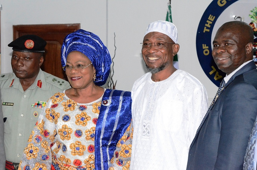 From left, Commander, Engineering Company, Ede, Brig. General Gbenga Adeyemi; Deputy Governor, State of Osun, Mrs Titi Laoye-Tomori; Governor  Rauf Aregbesola and Director National Military Strategy of the National Defence College, Course 23, Commodore Abdul Ganiy Olabisi, during a Team from Defence College's visit to the Governor at Government House, Osogbo, the State of Osun on Tuesday 02-12-2014