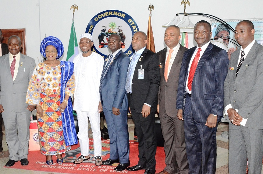 From left, Head of Service, State of Osun, Mr. Sunday Owoeye; Commander, Engineering Company, Ede, Brig. General Gbenga Adeyemi; Deputy Governor, State of Osun, Mrs Titi Laoye-Tomori; Governor  Rauf Aregbesola; Director National Military Strategy of the National Defence College, Course 23, Commodore Abdul Ganiy Olabisi; Brig. Gen. Joel Unnigbe; Commodore Micheal Okonkwo; Brig. Gen. Ibrahim Yusuf and Captain Muktar Abdulai, during a Team from Defence College's visit to the Governor at Government House, Osogbo, the State of Osun on Tuesday 02-12-2014